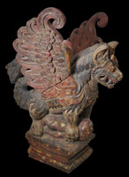 Magnificent Wooden & Polychrome Winged Lion (Singa Bersayap)