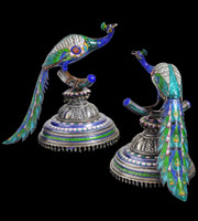 Pair of Enamelled Silver Peacocks, India