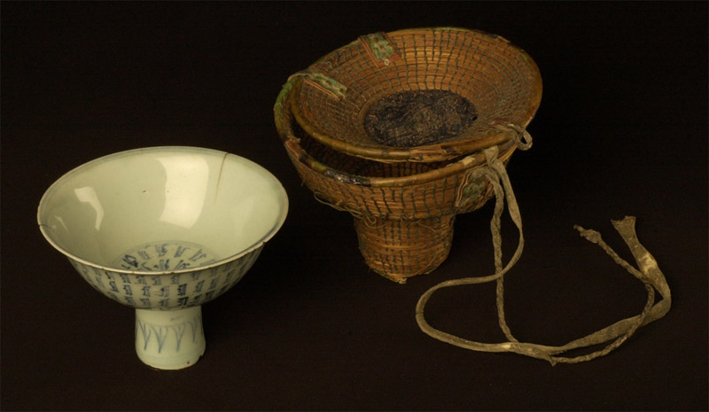 Tibetan Nomads porcelain wine cup with carrying case