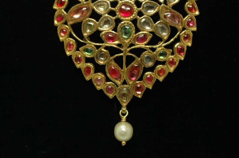 Antique multi-gemstone necklace from India.