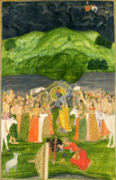 Krishna lifts Mount Govardhan
