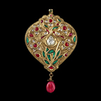A Gold Diamond And Ruby Pendant