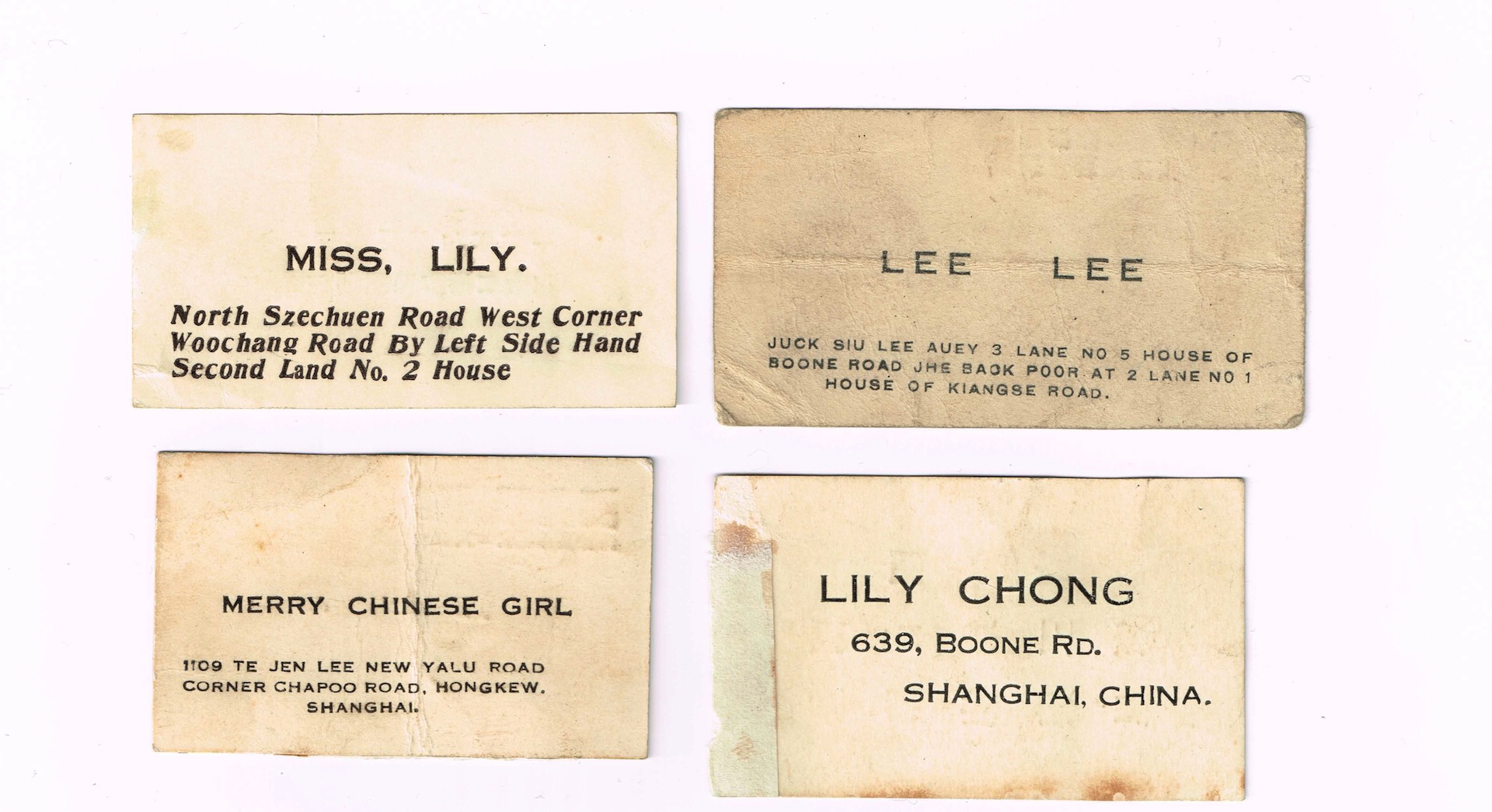Asian art forums reply message mid late 1920s business cards from shanghai is it just the same information as the other side but in chinese any ideas what services these were for reheart Images