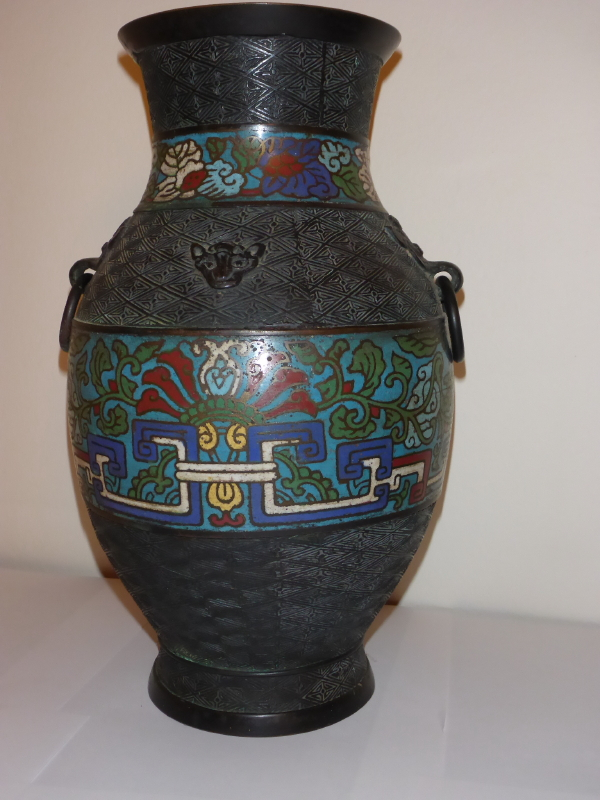 Antique Chinese Cloisonne Vase Vase And Cellar Image Avorcor