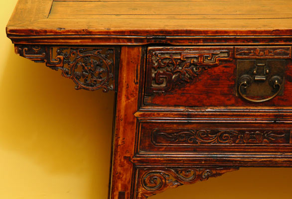 Antique Chinese Decoratively Carved Scholar's Table or Desk, 2-Drawers - Antique Chinese Decoratively Carved Scholar's Table Or Desk, 2
