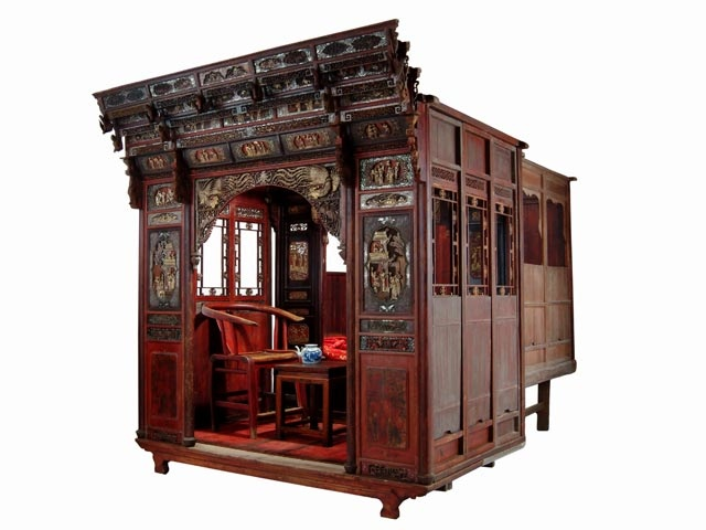 antique chinese carved canopy wedding bed with alcove on silk road