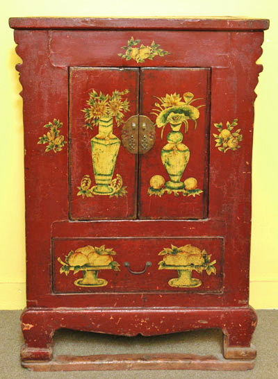 Attirant Antique Chinese Temple Cabinet With Unusual Legs