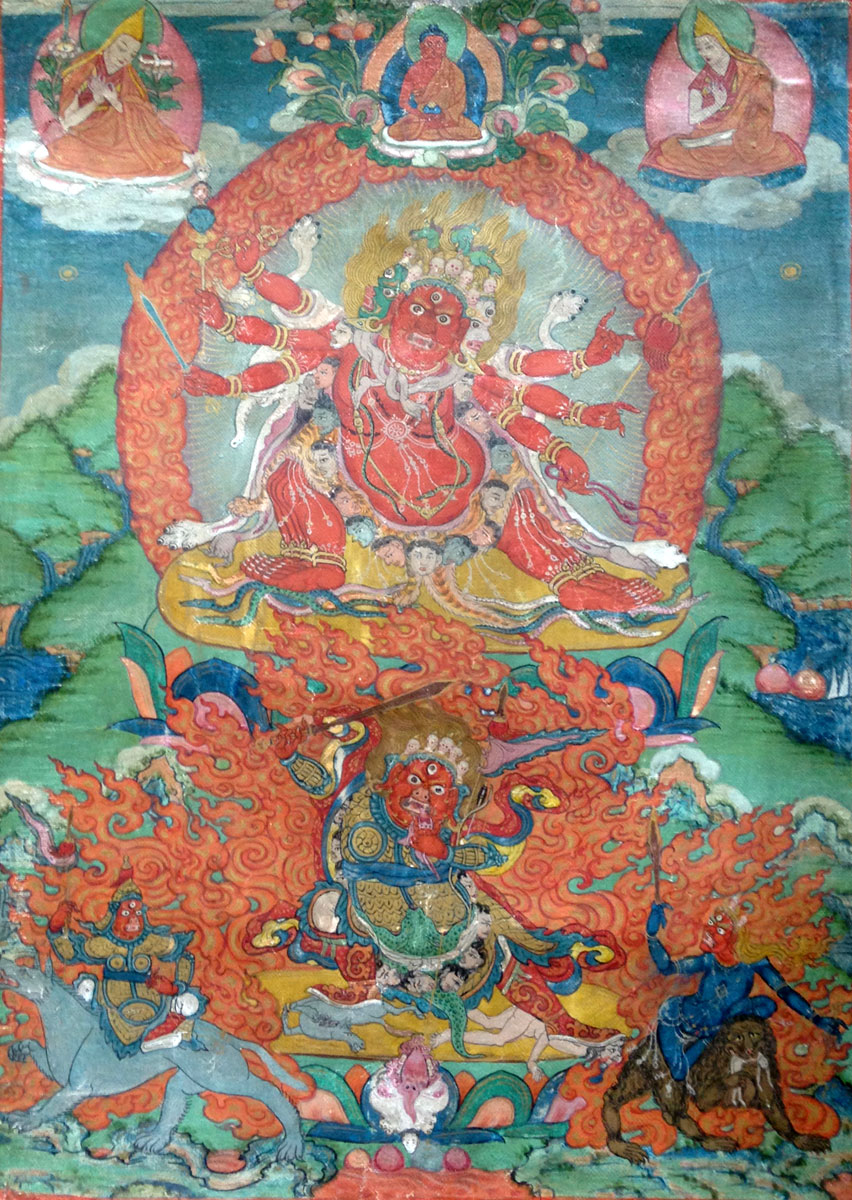 A small thangka painting depicting Heyagriva