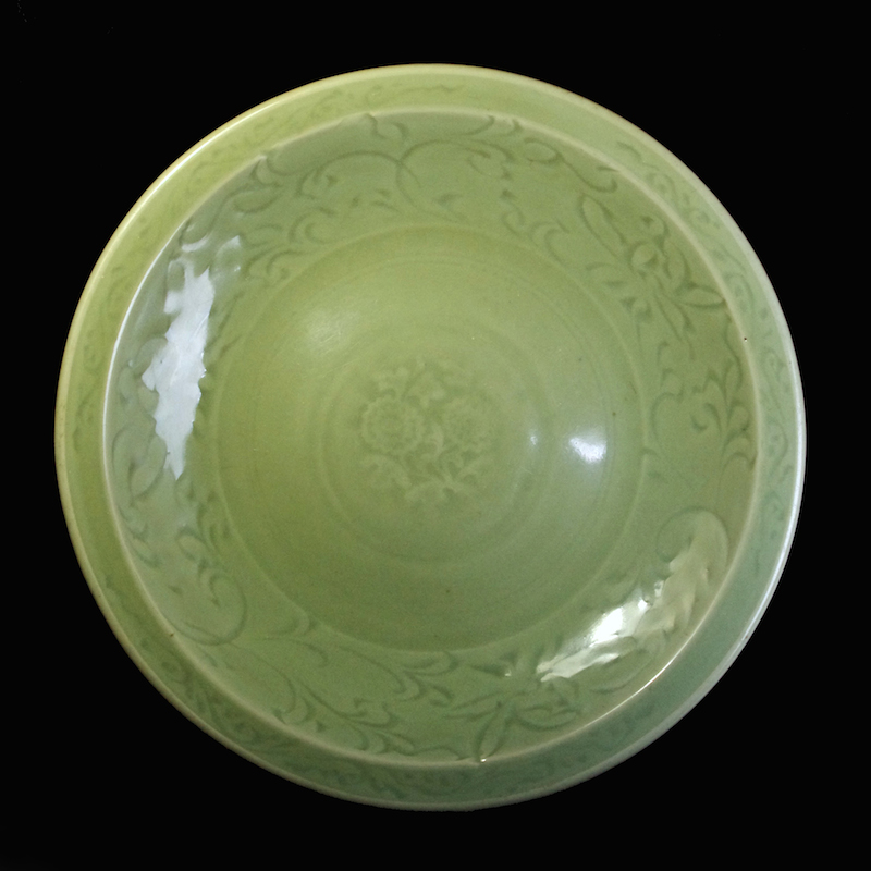Large Celadon Dish with Flowers